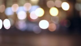 Night traffic of cars in a big city. Headlights. Blurred background stock footage