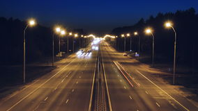 Night Traffic of cars on busy highway infrastructure. Time lapse night traffic of cars on busy highway infrastructure stock video footage