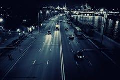 Night traffic with cars lights. Night city traffic with cars lights Stock Photography