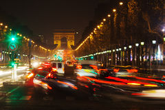 Night traffic on the Champs-Elysees Royalty Free Stock Images
