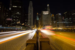 Night traffic in Chicago Royalty Free Stock Image
