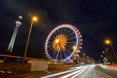 Night traffic and Christmas illuminations Stock Photography