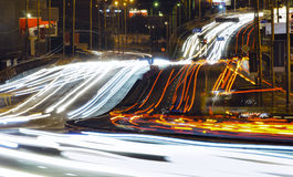 Night traffic in a city Stock Photography