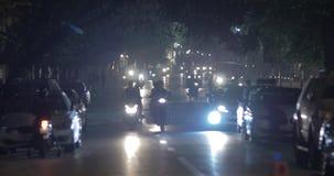 Night traffic on city motorway in Hanoi, Vietnam stock video footage