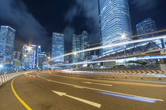Night traffic and city skyline Royalty Free Stock Photography