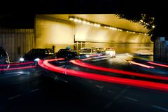 Night traffic on city streets Royalty Free Stock Photos