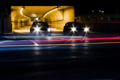 Night traffic on city streets stock image