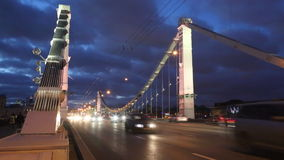 Night traffic on the Crimean bridge in Moscow stock video