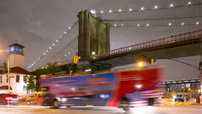 Night traffic crossroad brooklyn bridge park 4k time lapse from nyc stock video footage