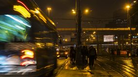 Night traffic and the crowd of people on urban street. Moscow Royalty Free Stock Photos