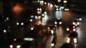 Night Traffic. Defocused Lights of Traffic on a Busy Road at Night - Image Has Soft Focus Stock Photography