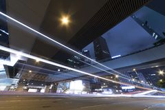Night traffic in downtown of Hong Kong city Stock Images