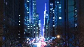 Night Traffic on E42nd Street. Time Lapse 4K stock footage