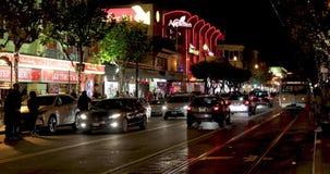 Night traffic at Embarcadero street. SAN FRANCISCO - DECEMBER 26, 2017: Traffic at North Embarcadero street at night - famous tourists` destination stock video footage