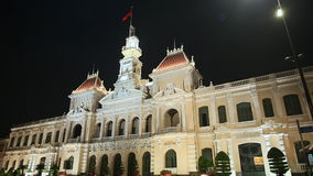 Night Traffic in front of the City Hall in Ho Chi Minh City Saigon , Vietnam. Night Traffic in front of the City Hall in Ho Chi Minh City Saigon, Vietnam stock video footage