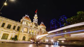 Night Traffic in front of the City Hall in Ho Chi Minh City Saigon. Vietnam stock video
