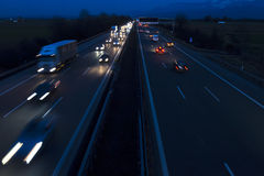 Night traffic on a German Autobahn Stock Photos