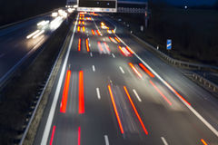 Night traffic on a german highway Stock Photos