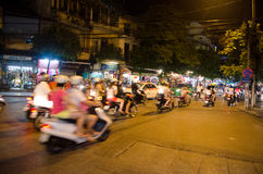Night traffic in Hanoi Stock Image