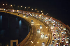 Night traffic on highway Royalty Free Stock Image