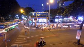 Night traffic in Ho Chi Minh, Vietnam - timelapse stock video footage