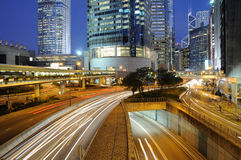 Night traffic in Hong Kong Stock Photo