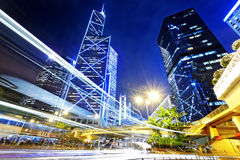 Night traffic in the hong kong city Royalty Free Stock Photography