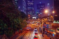 Night traffic in Hong Kong Stock Photos