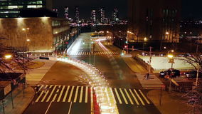 Night traffic at the intersection of New York City stock video