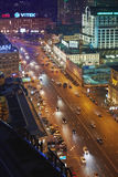 Night traffic at intersection of Novinsky Boulevard and Smolenskaya Square Stock Photography