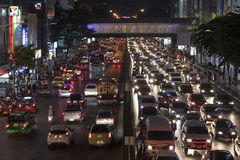 Night traffic jam in Bangkok Stock Photos