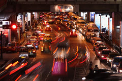 Night traffic jam in Bangkok, Thailand Stock Photography