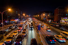 Night traffic jam in beijing 2 Stock Images