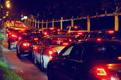 Night traffic jam on a city street Royalty Free Stock Image