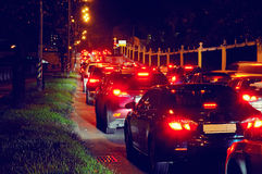 Night traffic jam on a city street Stock Photo