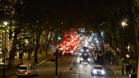 Night traffic jam in London, UK stock footage