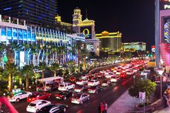 Night traffic jam in Vegas Royalty Free Stock Photography