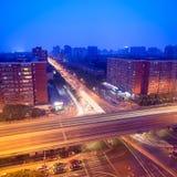 Night traffic on junction Stock Photo