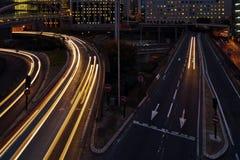 Night traffic in La Defense, Paris Stock Images