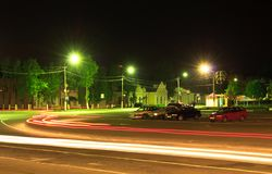 Night traffic light Stock Photo