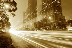 Night traffic light in the city shuttle Royalty Free Stock Images