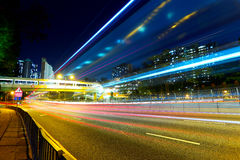 Night traffic light trail Stock Photo
