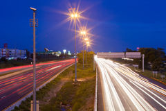 Night traffic lights. In highway of Thailand Stock Image