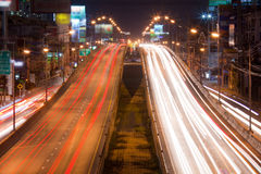 Night traffic lights. In the Bangkok, Thailand Royalty Free Stock Photography