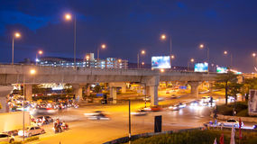 Night traffic lights. In the Bangkok, Thailand Royalty Free Stock Images