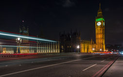 Night traffic lights and big ben Stock Images
