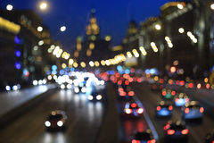 Night traffic with lights. Of cars Royalty Free Stock Photography
