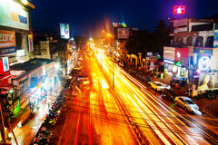 Night traffic lights in the center of Trivandrum, Kerala, India Royalty Free Stock Image