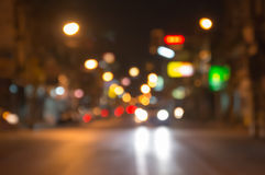 Night traffic lights at intersection. The city lights. Motion blur. Abstract background Royalty Free Stock Images