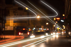 Night traffic lights at intersection. Royalty Free Stock Image